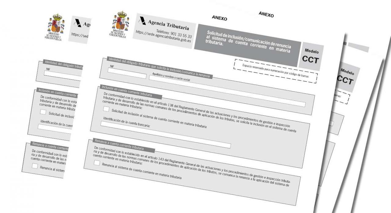 Modelo de solicitud y comunicación al sistema de CCT. Imagen del anexo del modelo