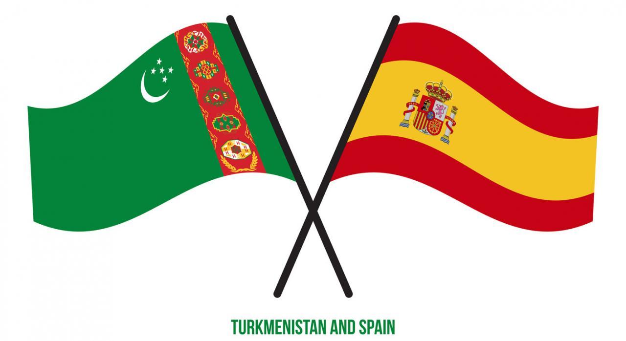 Denuncia de Turkmenistán al CDI . Imagen de la bandera de España y Turkmenistán juntas en forma de aspa