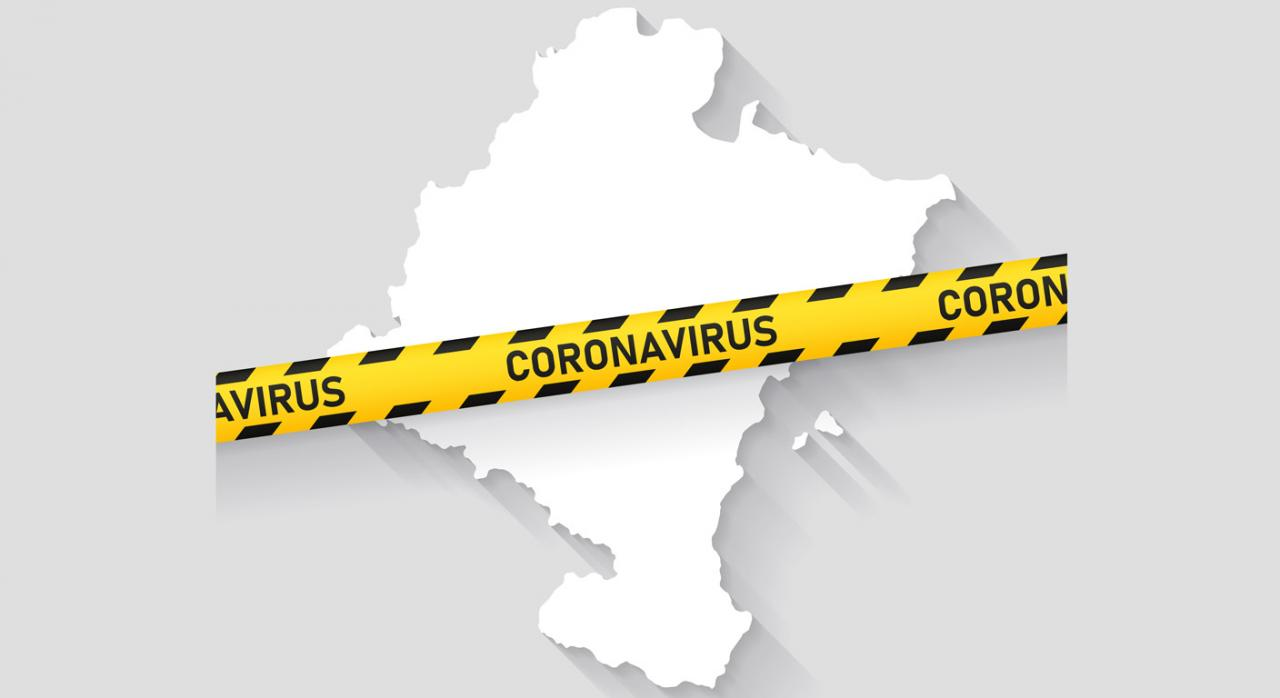 Más medidas tributarias en Navarra para hacer frente al coronavirus (COVID-19). Imagen de mapa de Navarra con la palabra coronavirus escrita en banda amarilla