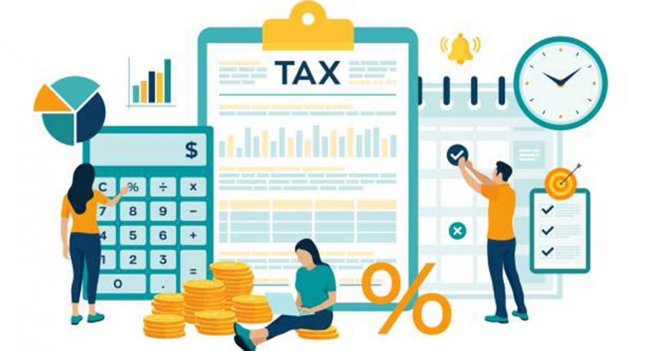 Alava, IRNR, IVA, II.EE, IAE, Impuesto sobre Primas de Seguros. Imagen de de unos dibujos que representan una calculadora, monedas y porcentajes