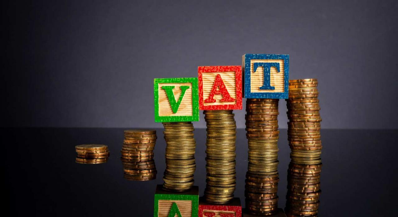 Álava modifica su reglamento de IVA para adaptarlo a los cambios por la transposición de diversas directivas de la UE. Imagen de cubo de la letras del vat y monedas