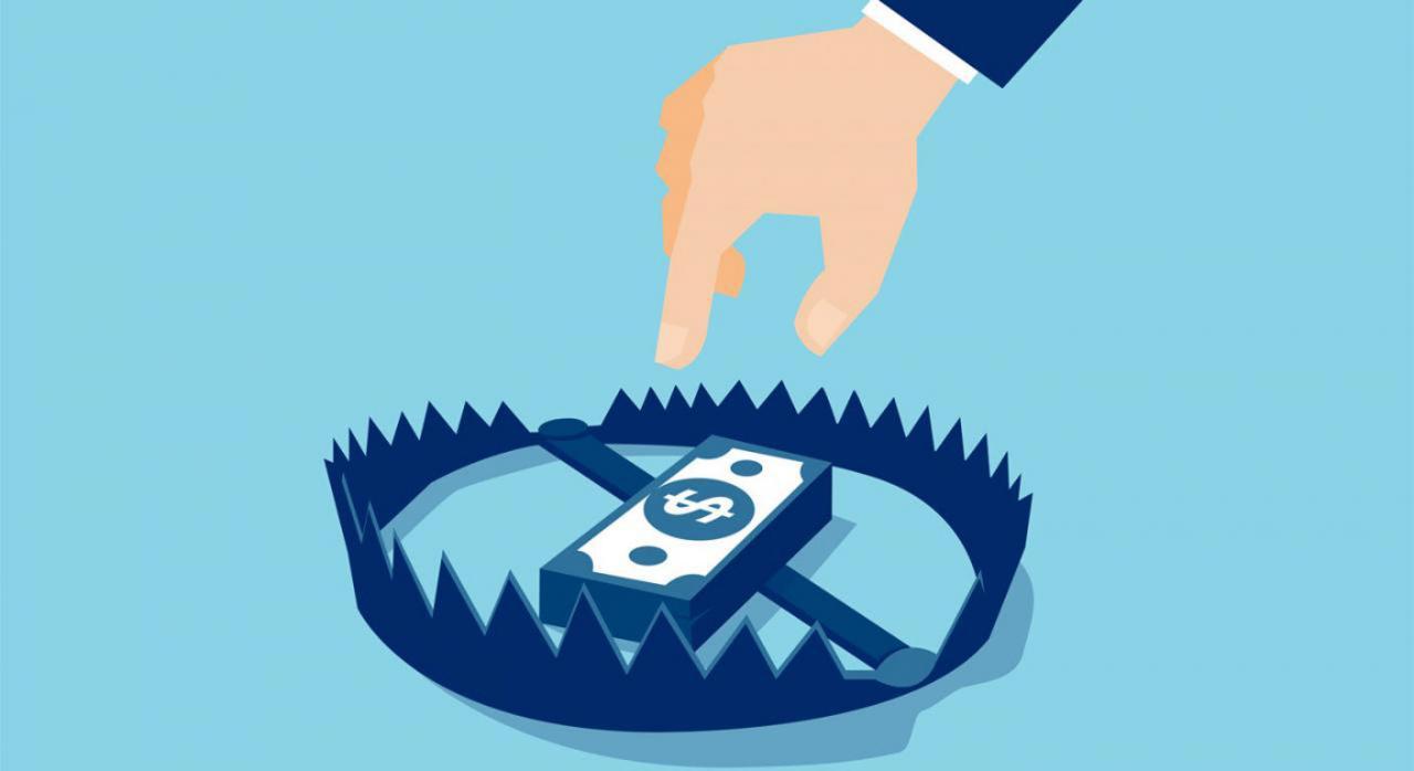 Álava implanta el sistema TicketBAI. Ilustración de una mano intentando coger un fajo de billetes que está en una trampa