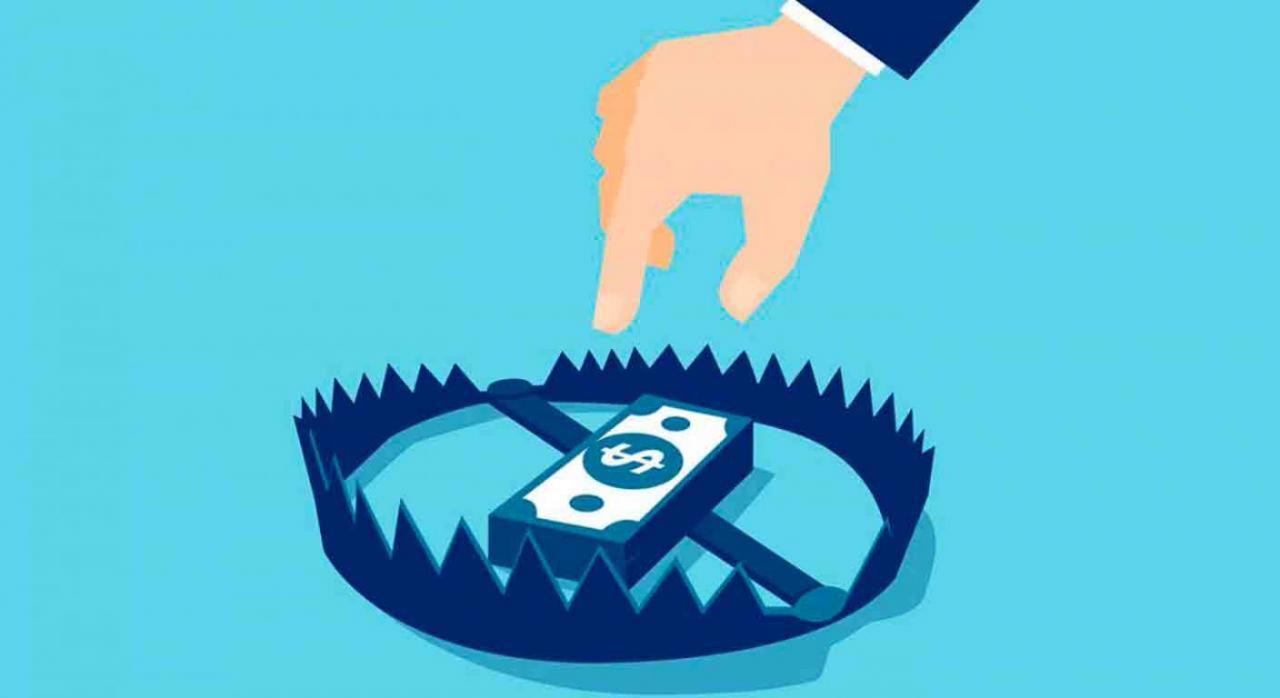 Álava desarrolla la obligación TicketBAI, con efectos desde el 1 de enero de 2022. Ilustración de cepo o trampa con dinero y una mano aproximándose a cogerlo
