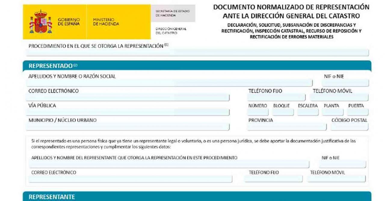 Aprobación del documento normalizado de representación en los procedimientos tributarios ante la Dirección General y Gerencias del Catastro. Imagen del anexo