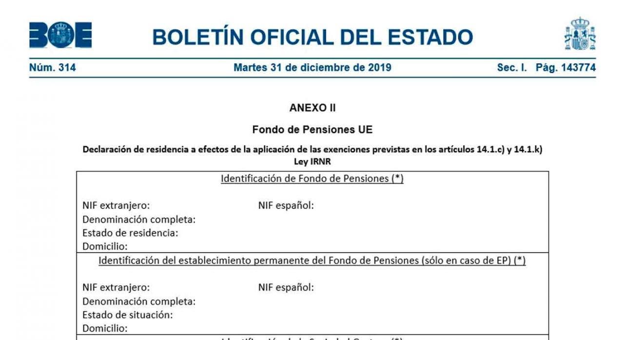 Acreditación residencia. Anexo II Fondo de Pensiones