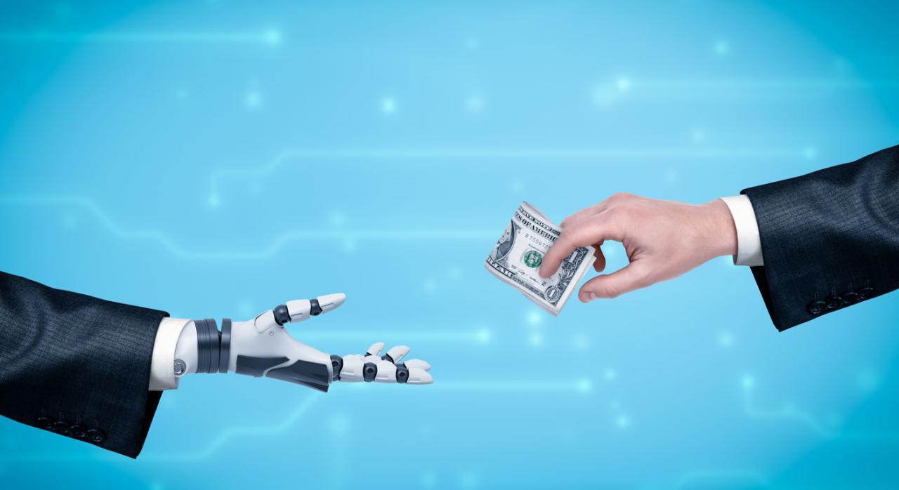 Mano de hombre de negocios dando dinero a mano robótica. Asistencia a los contribuyentes