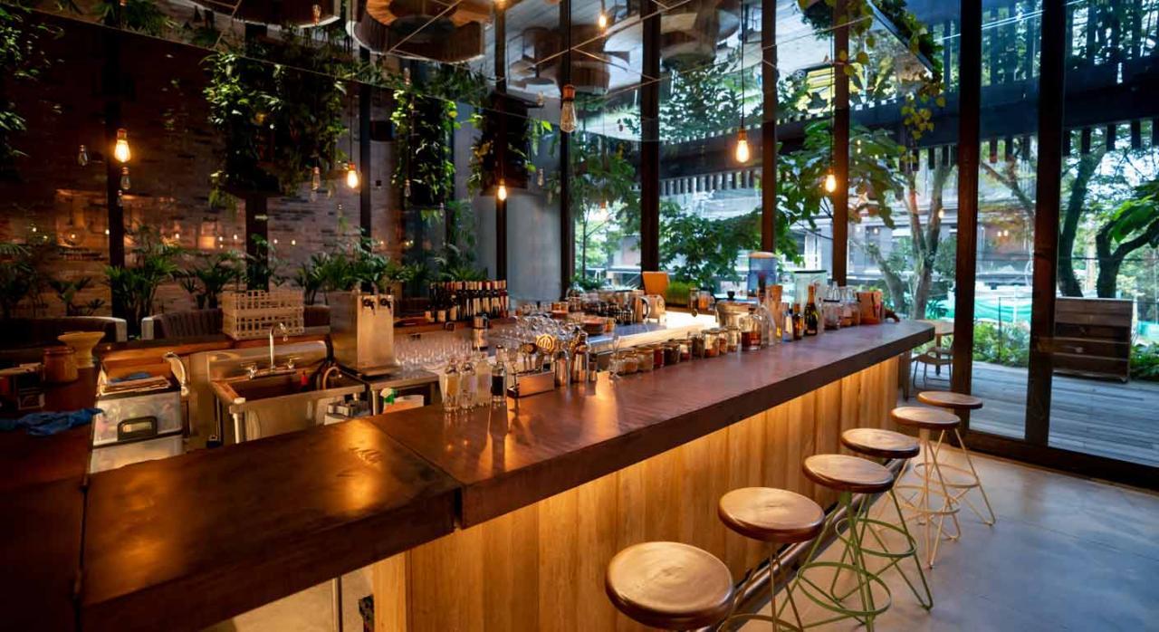 Vista general de la barra de un bar. Módulos para el año 2020