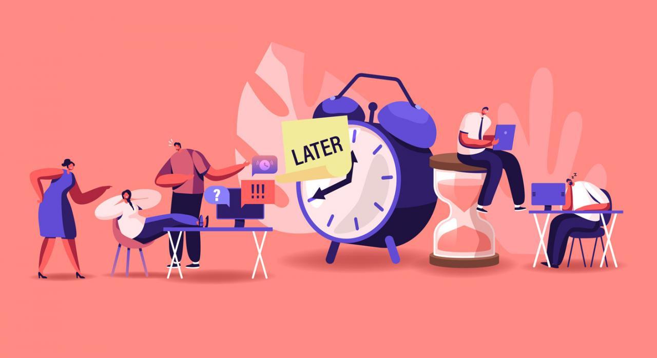 Bizkaia retrasa aplazamientos y fraccionamientos y dispone la exención del IVA e II.EE. Ilustración de empresarios perezosos y procrastinando