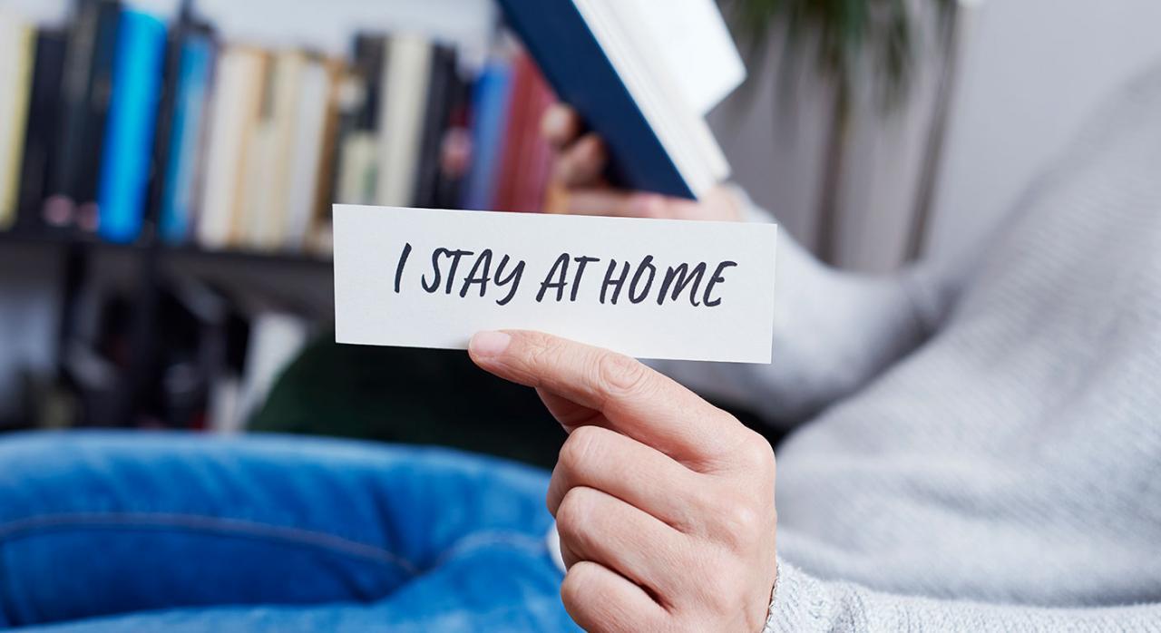 Bizkaia, plazos IRPF e IP 2019, coronavirus. Imagen de un hombre mostrando el mensaje me quedo en casa