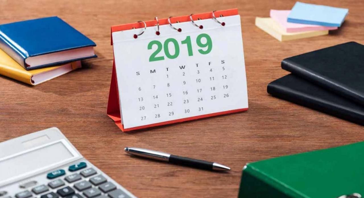 Calendario de sobremesa del año 2019