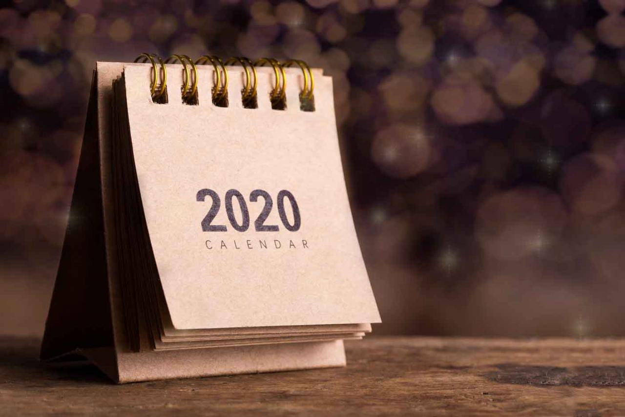 Imagen de un calendario 2020 para el contribuyente