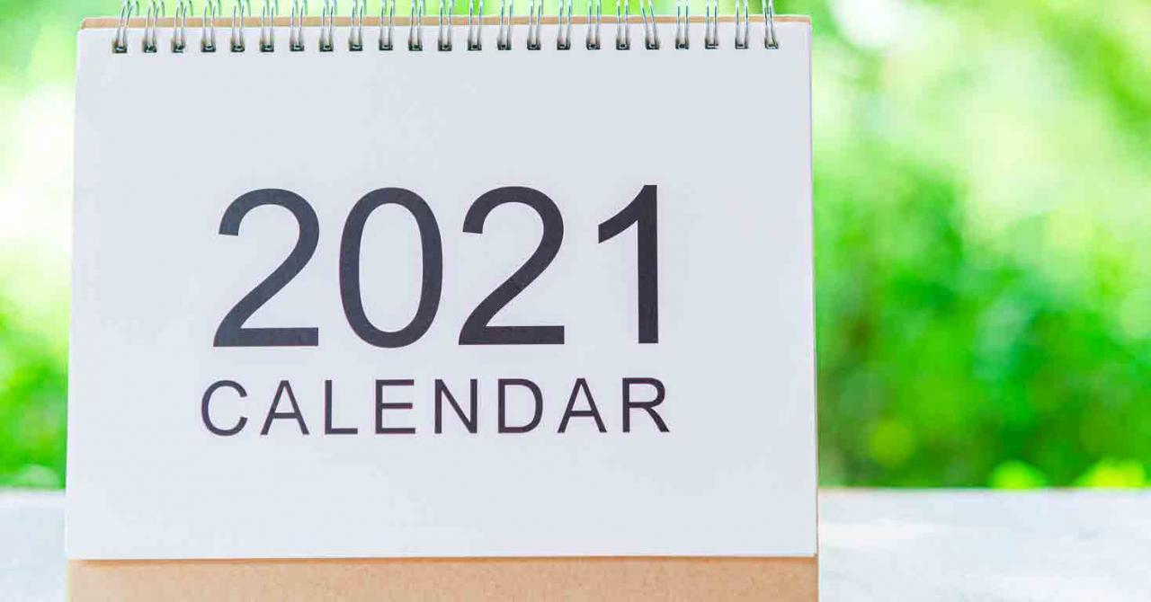 Calendario del contribuyente 2021. Imagen de la portada de un calendario de 2021