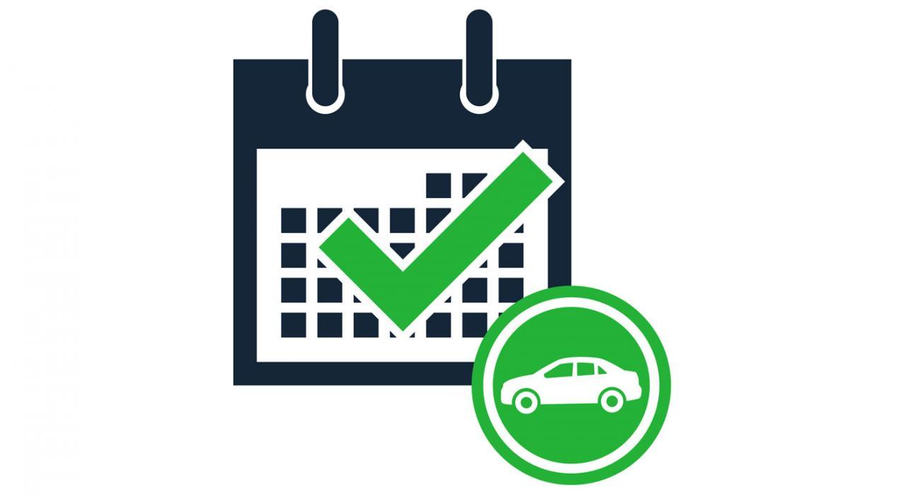 Impuesto sobre las emisiones de dióxido de carbono de los vehículos de tracción mecánica. Imagen de calendario con un coche dentro de un círculo