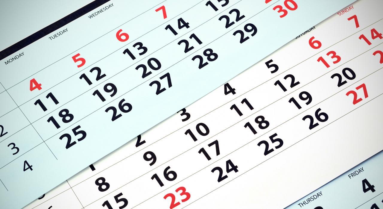 Calendario mensual. Días inhábiles