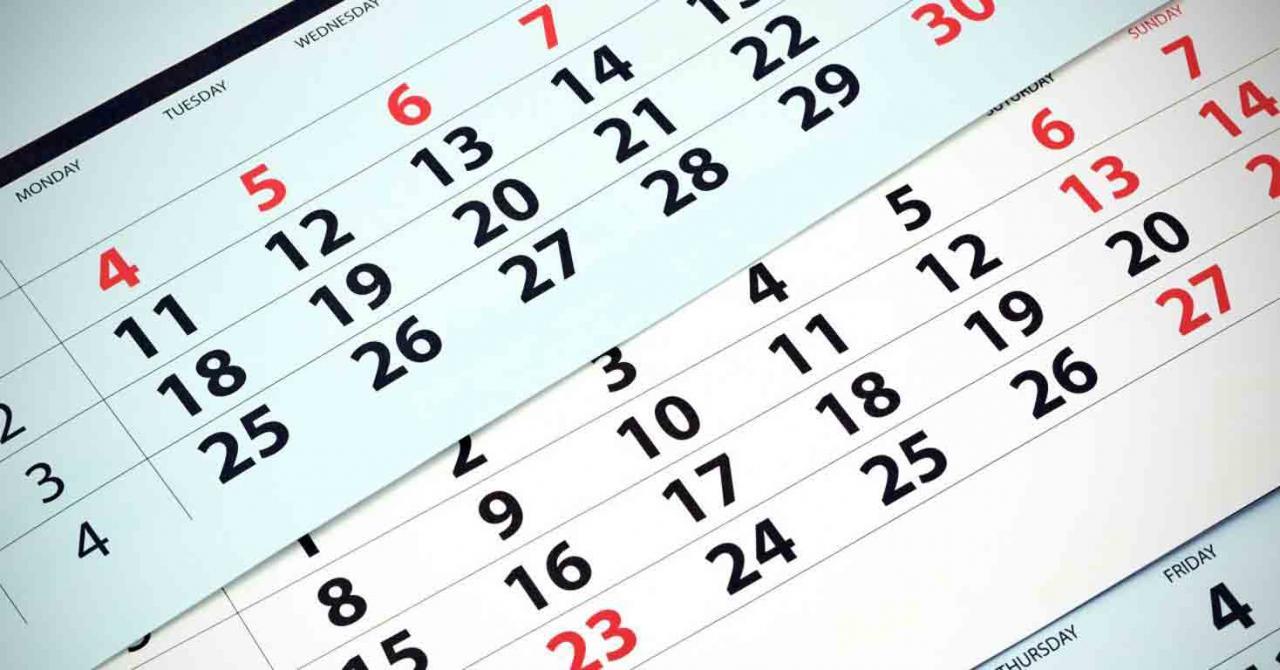 Administración General del Estado: calendario de días inhábiles 2021. Imagen de un calendario