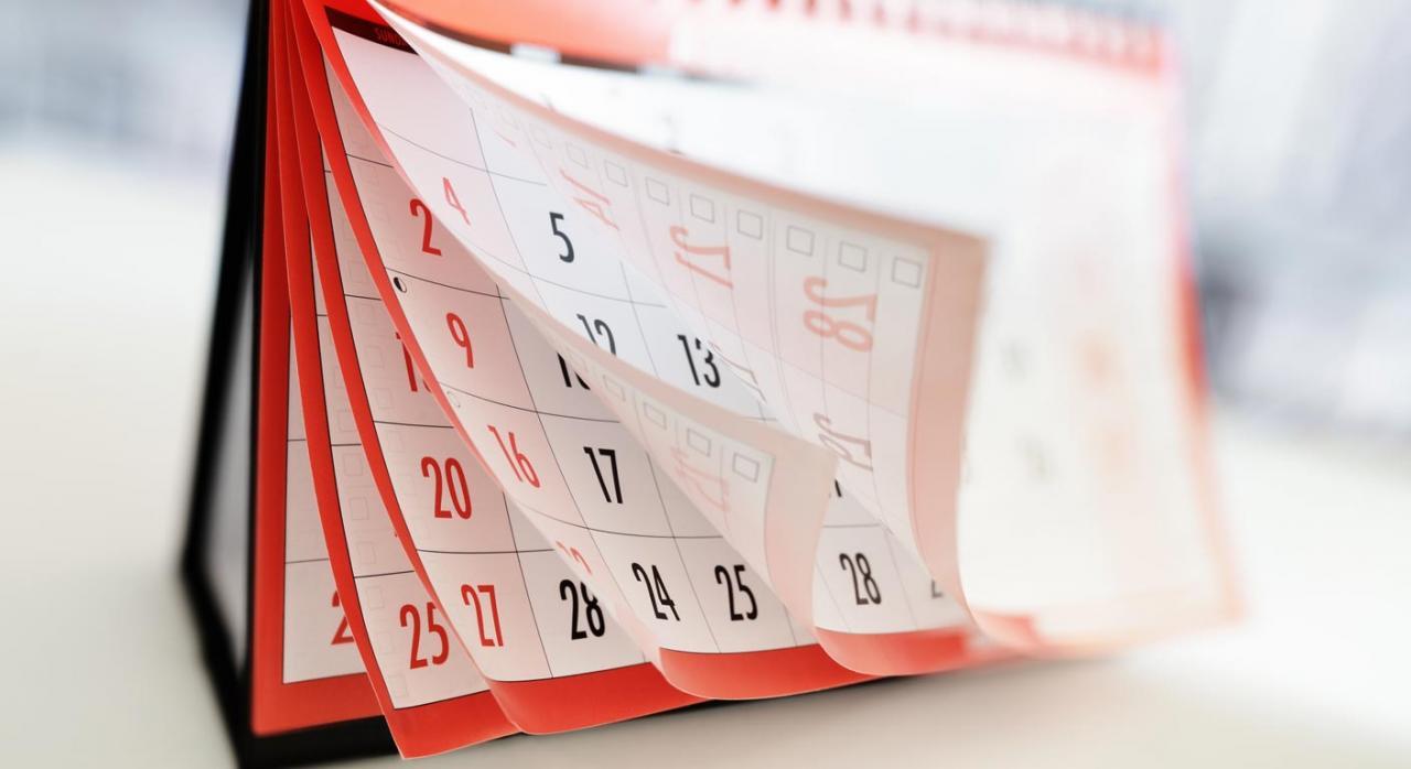 Medidas tributarias en Aragón con motivo del coronavirus. Imagen de calendario de sobremesa