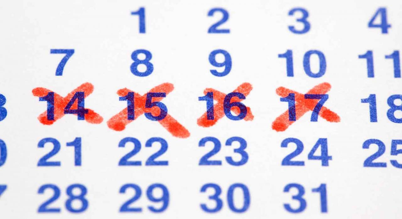 Coronavirus medidas baleares. Calendario con los días 14, 15, 16 y 17 tachados
