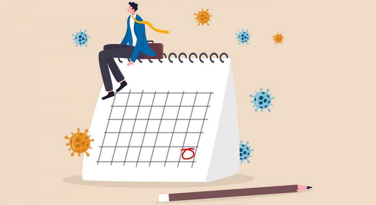 Navarra, fecha del primer pago, IRPF e IP 2019, 28 de julio de 2020. Propietario sentado sobre un calendario  pensando un plan para después del bloqueo