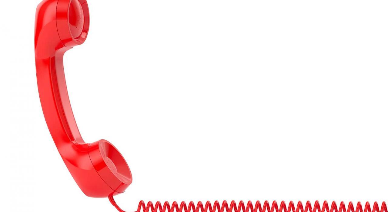 Canal telefónico AEAT. Imagen de un teléfono rojo