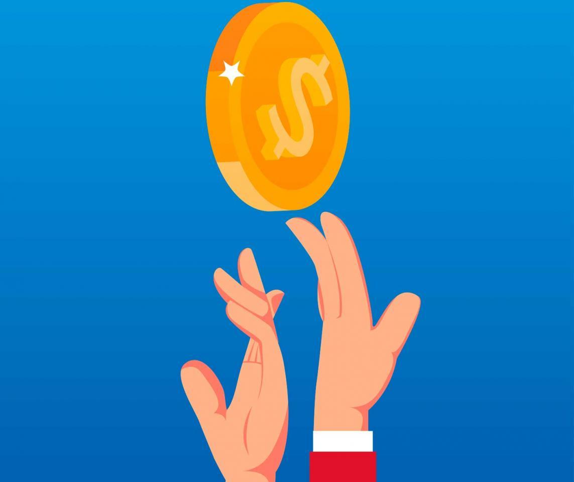 Dos manos intentando alcanzar una moneda al aire