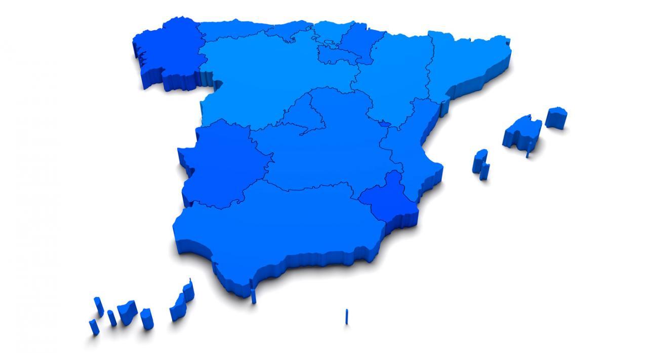 Suspensión de plazos en el ámbito de las Comunidades Autónomas.  Imagen de mapa de España