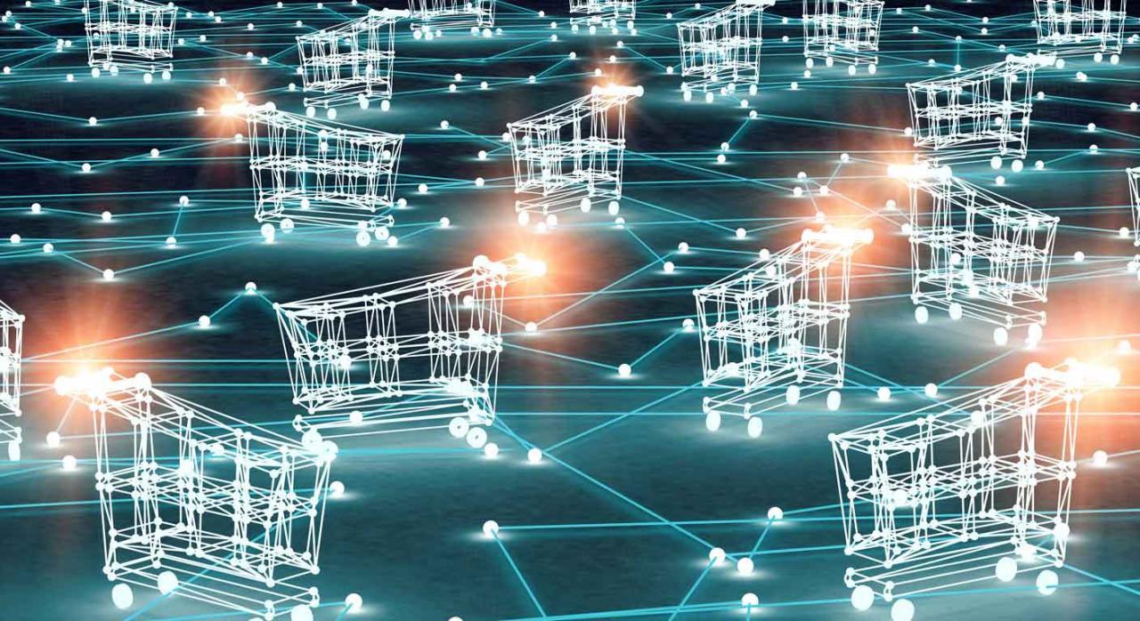 IVA comercio electrónico. Imágenes flotando representando el concepto de comercio electrónico