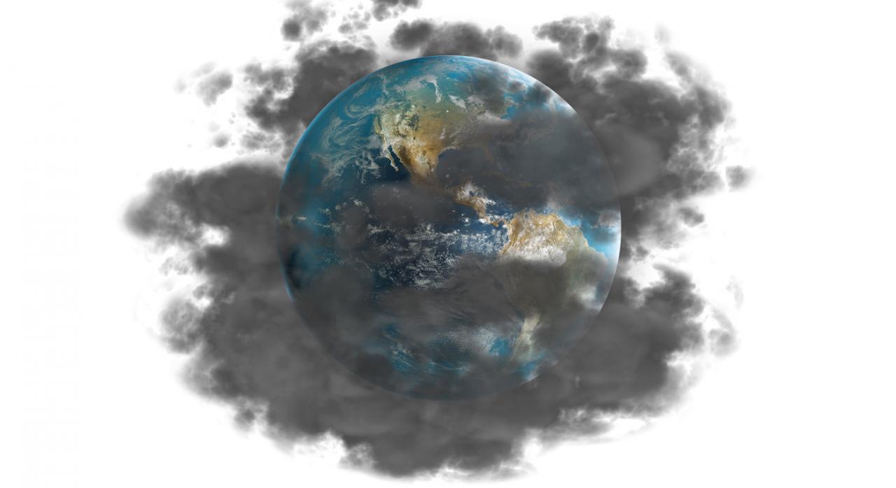 Imagen de la tierra y la contaminación por el cambio climático