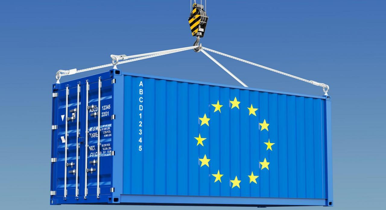 COVID-19: se concede una franquicia de derechos de importación y una exención del IVA para la importación. Imagen de contenedor de carga UE