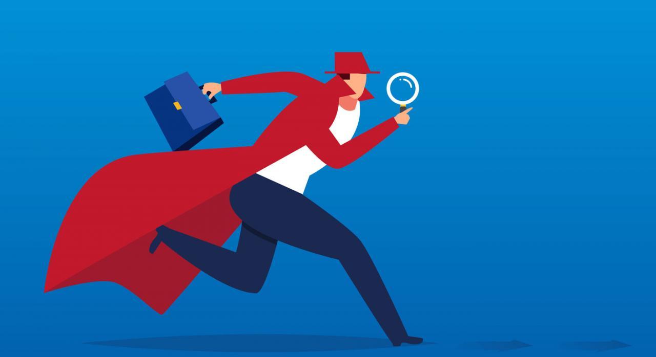 Control tributario 2020. Dibujo de un hombre corriendo con un maletín y una lupa en las manos