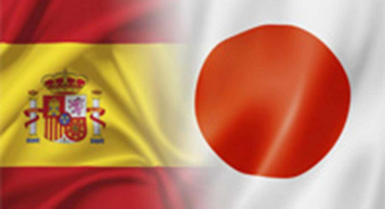 Convenio España Japón. Imagen de la bandera de España y de Japón