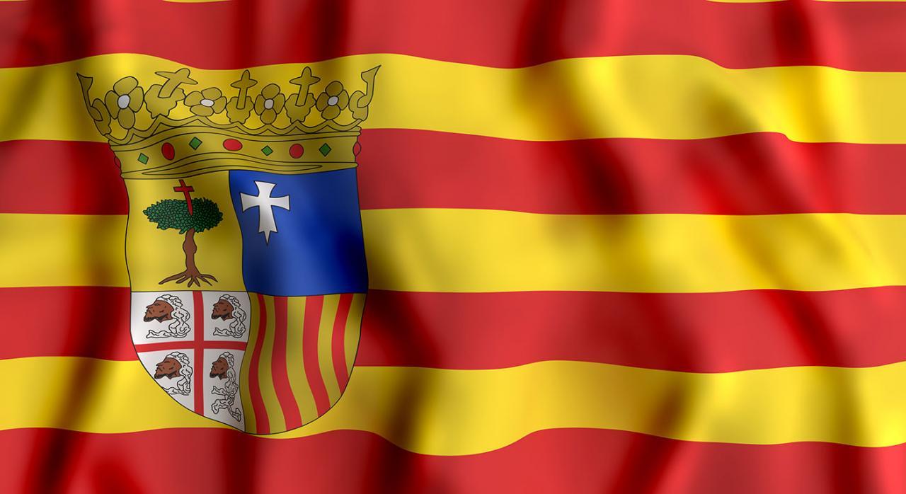 Coronavirus medidas aragon. Imagen de la bandera de Aragón