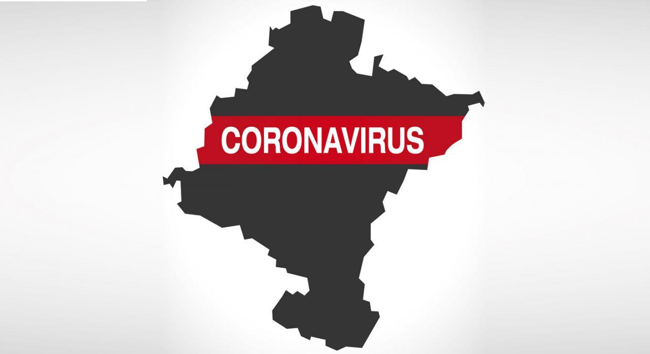 Medidas fiscales adoptadas en Navarra frente al coronavirus. Imagen de mapa de Navarra con la palabra coronavirus escrita en el mismo