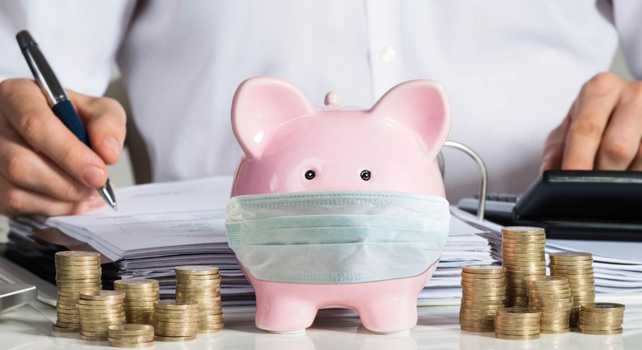 COVID-19: Gipuzkoa suspende las reglas fiscales de las entidades para 2020 y 2021. Imagen de hucha cerdito con mascarilla y monedas