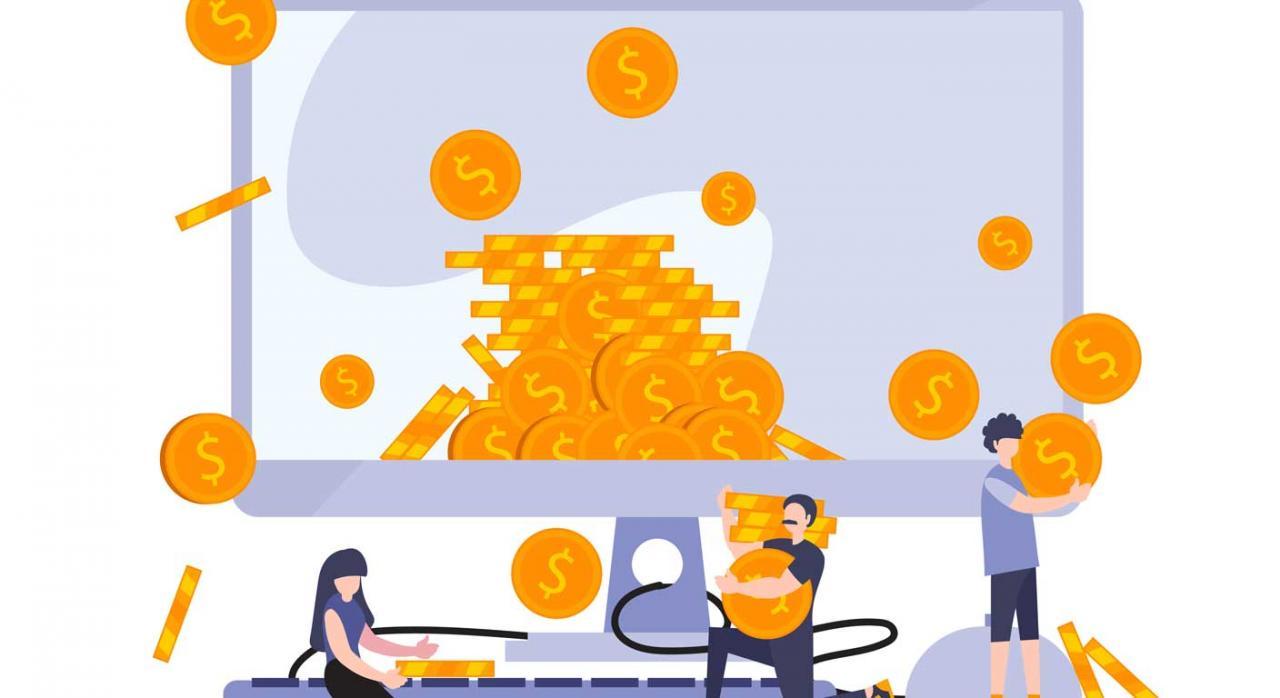 Deducibilidad en el IS. Ilustración de personas recogiendo monedas gigantes que salen de una pantalla grande de ordenador