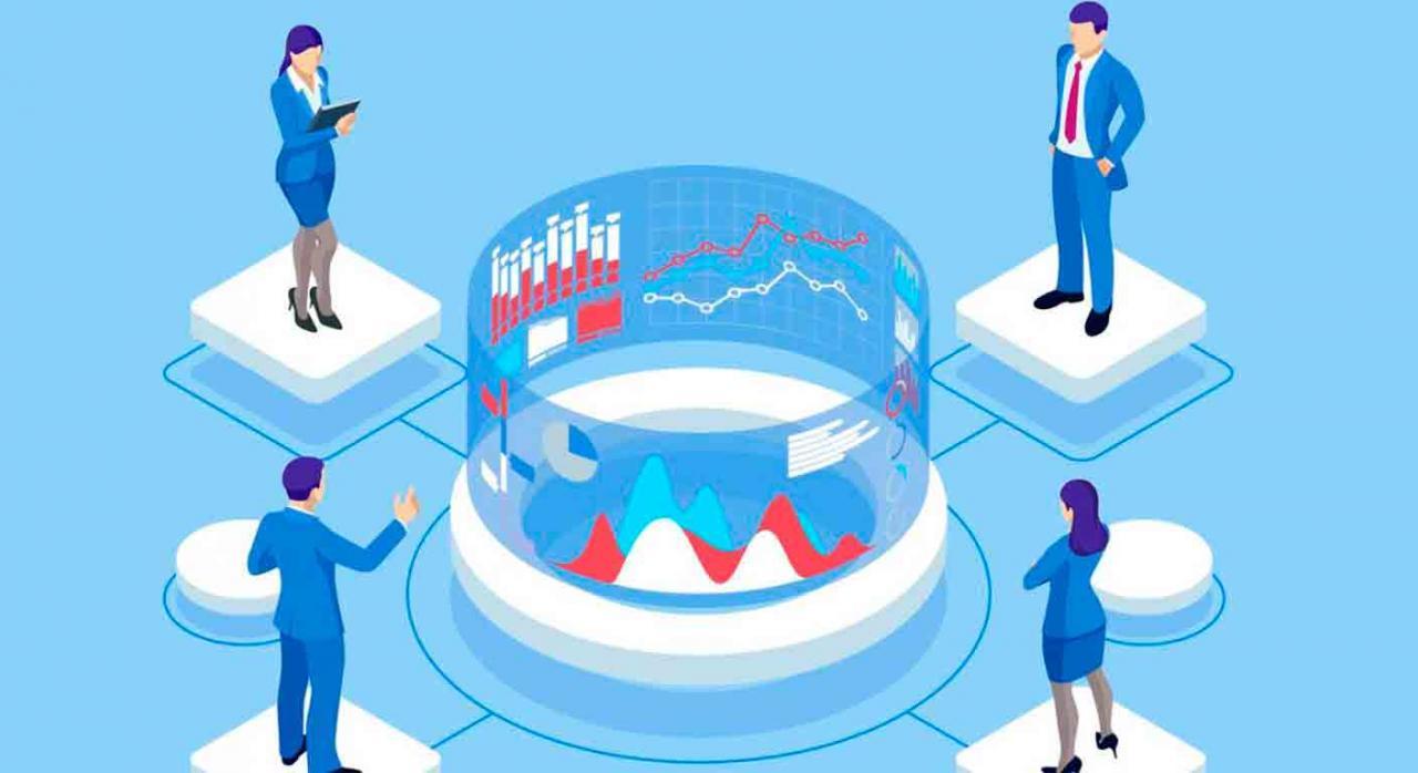 Bizkaia, DAC 6, intermediarios, desarrollo, información,mecanismos transfronterizos de planificación fiscal. Dibujo de cuatro personas alrededor de unos gráficos