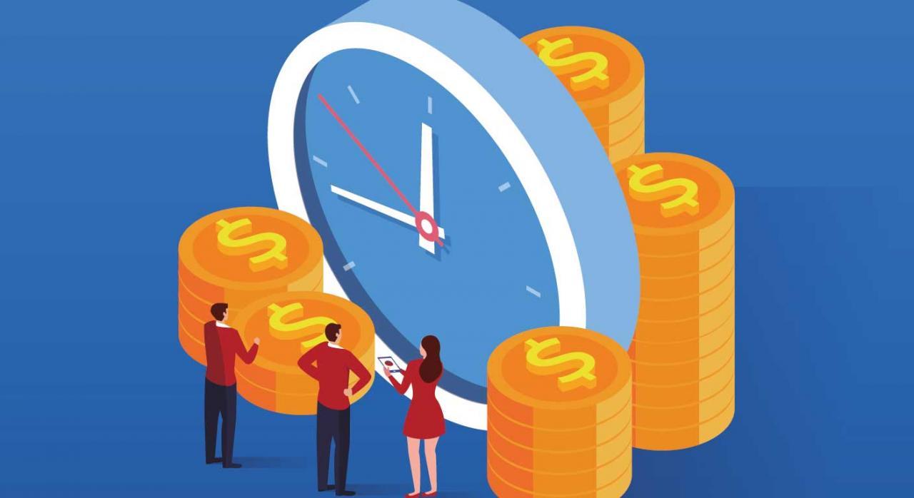 La influencia de los ERTE en la transparencia fiscal y en el reparto de dividendos de las empresas. Imagen de un reloj con unas monedas y unas personas