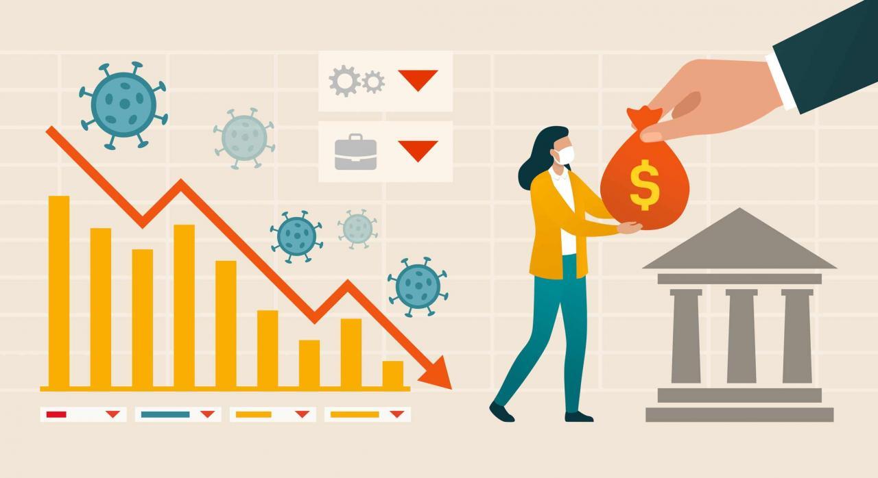 COVID-19: Gipuzkoa aumenta para el ejercicio 2020 el límite máximo de endeudamiento a largo plazo. Figura recibiendo bolsa de dienero y gráfica de curva de coronavirus