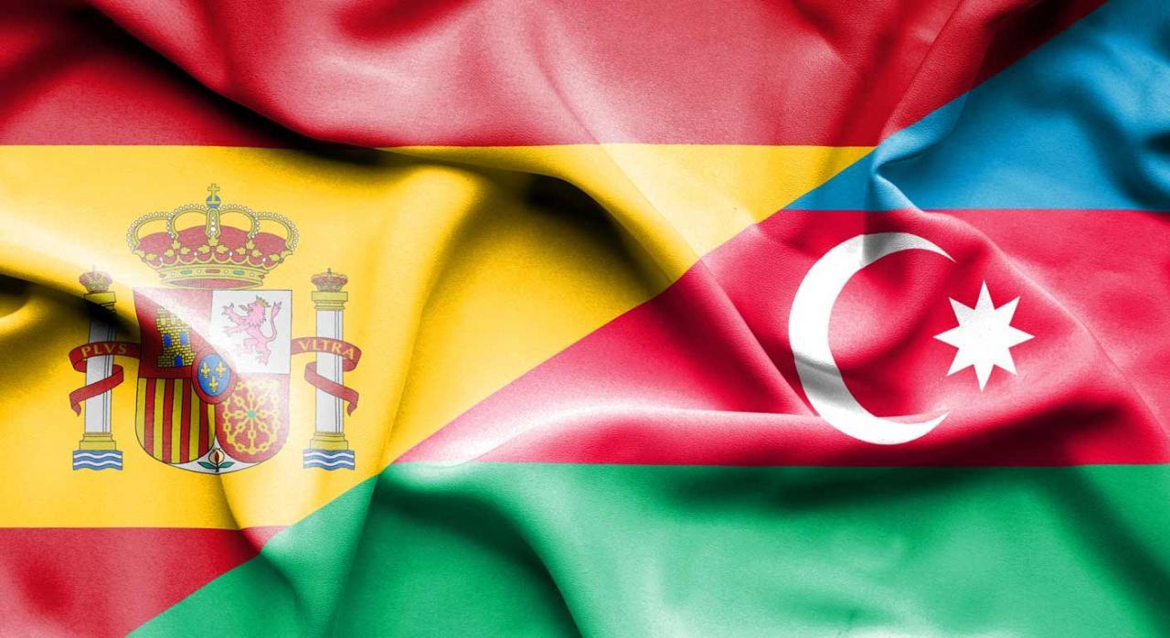 Banderas de España y Azerbaiyan
