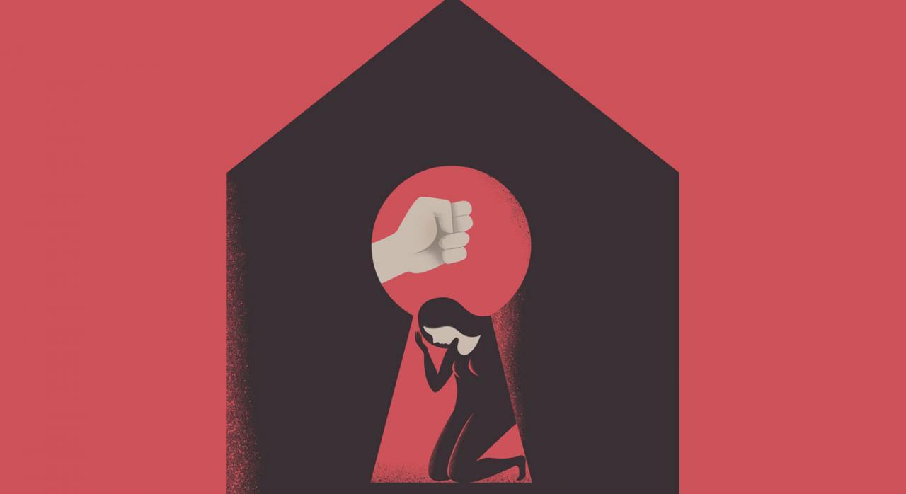Caso de no exención por la dación en pago de la vivienda habitual. Figura de la silueta de la cerradura de una casa, a través de la cual se ve una mujer con un puño sobre ella