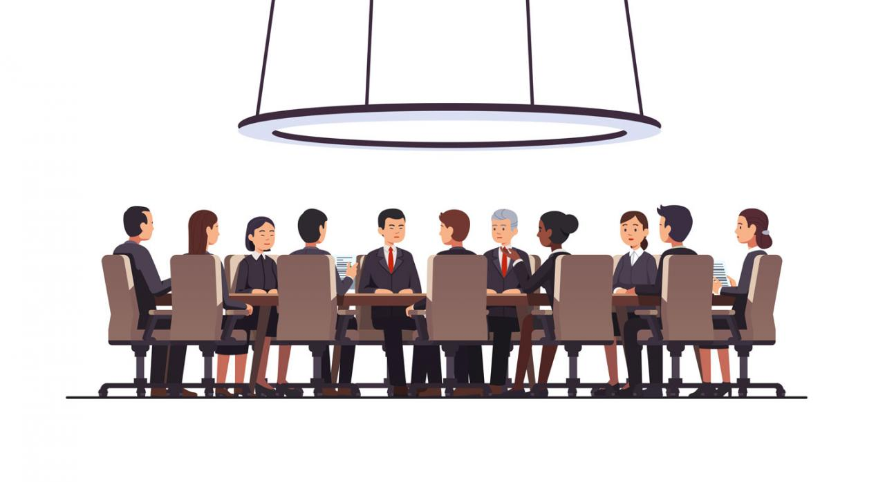 La exención de los trabajos realizados en el extranjero. Ilustración de personas sentadas en una mesa rendonda