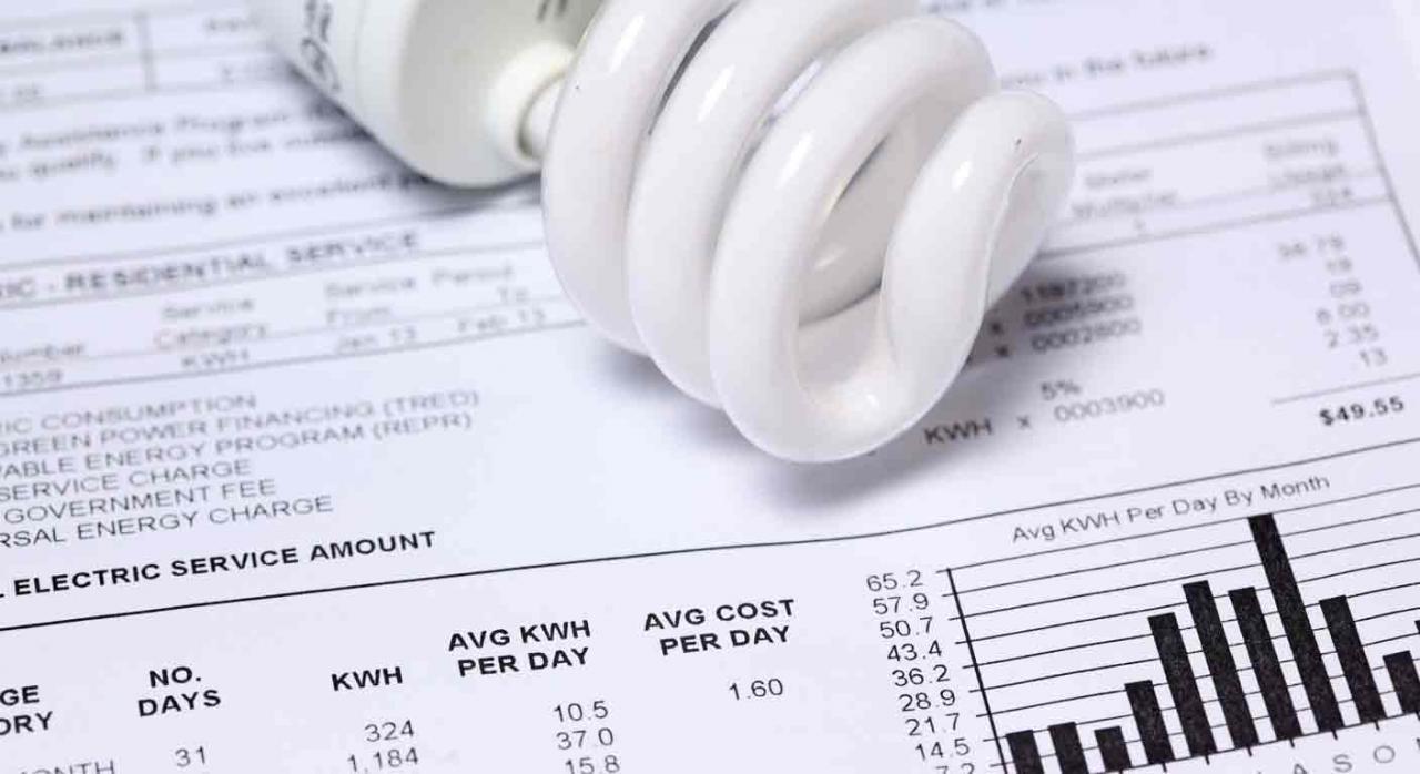 IVA factura luz tipo reducido alquiler equipos medida control. Bombilla sobre una factura de la luz