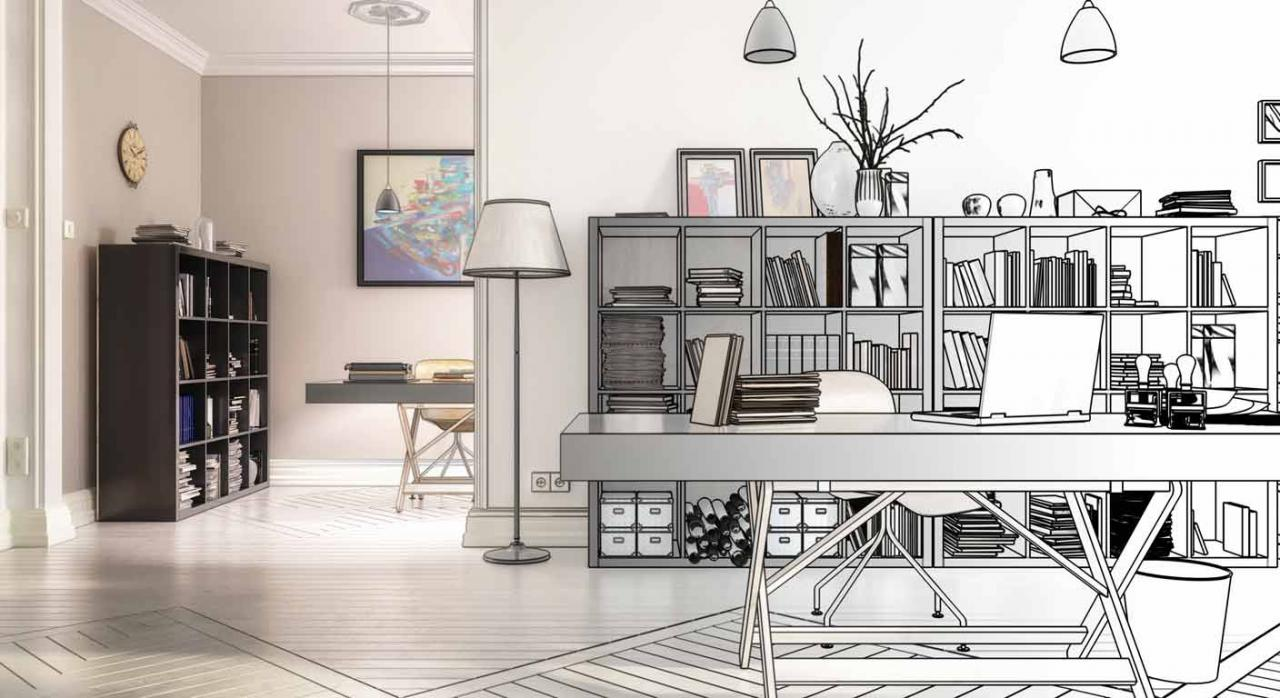 Facturas deducibles por mejoras realizadas en vivienda-despacho. Imagen en 3D del rediseño de una vivienda-despacho