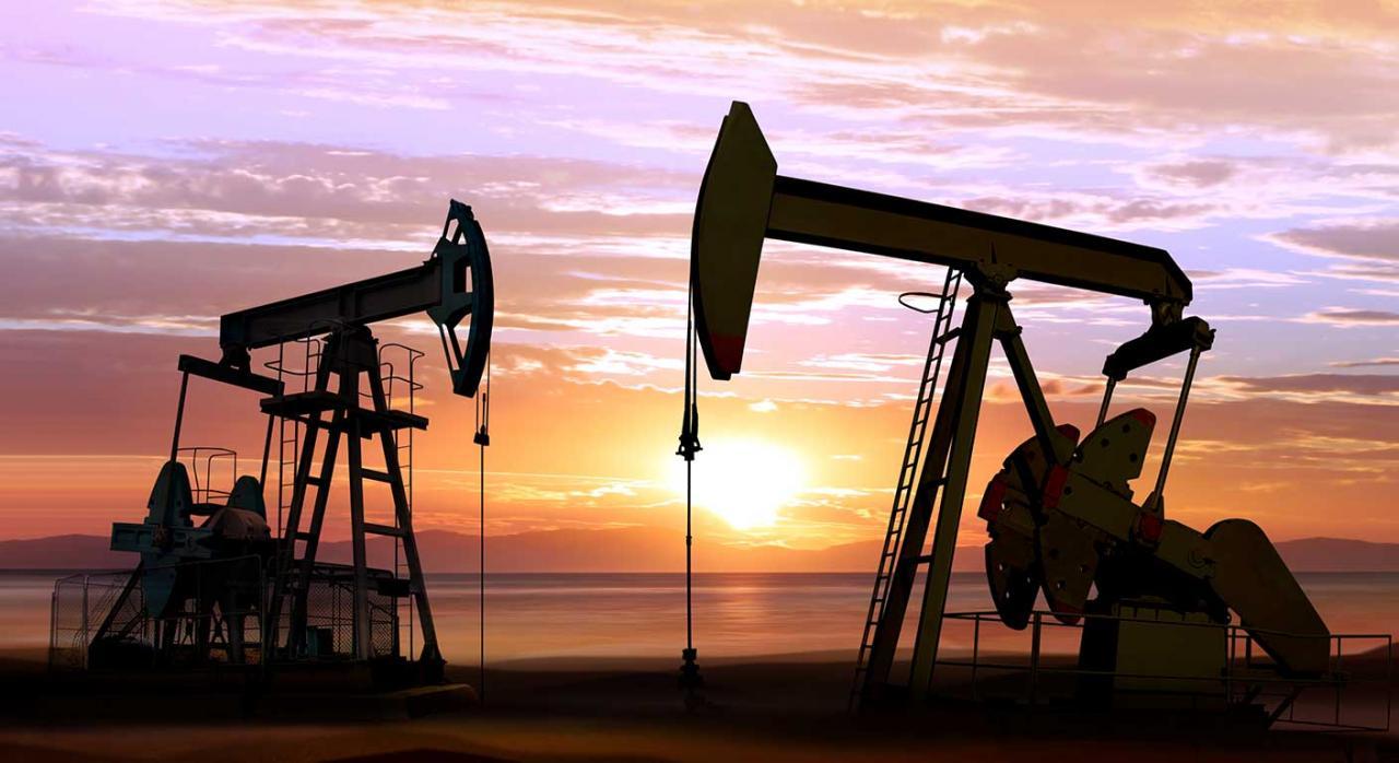 Impuestos especiales carburante. Imagen de bombas de aceite en marcha