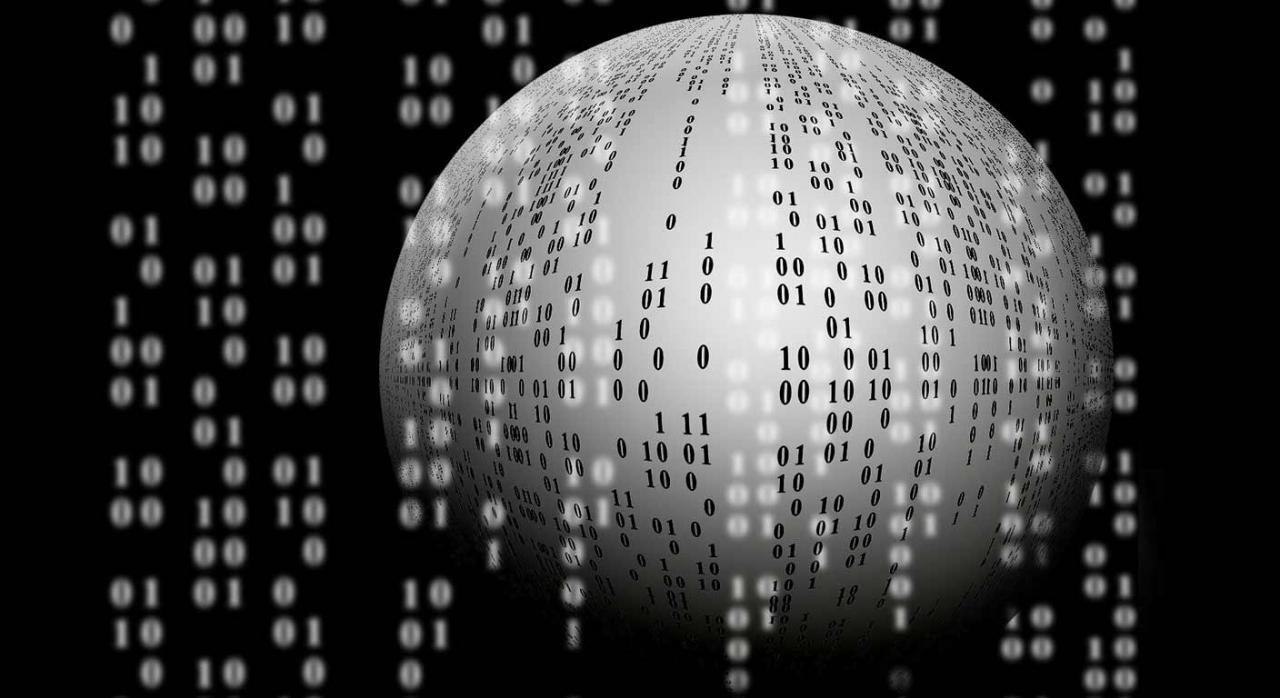 Álava difiere el plazo de intercambio automático y obligatorio de información (DAC-6). Imagen de esfera blanca con ceros y unos sobre fondo negro