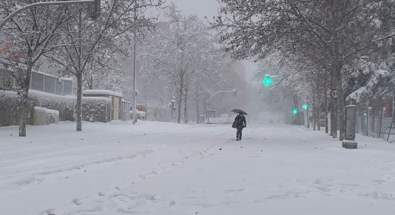 Beneficios fiscales para reparar los daños causados por la borrasca «Filomena». Imagen de una nevada y una persona andando sobre ella