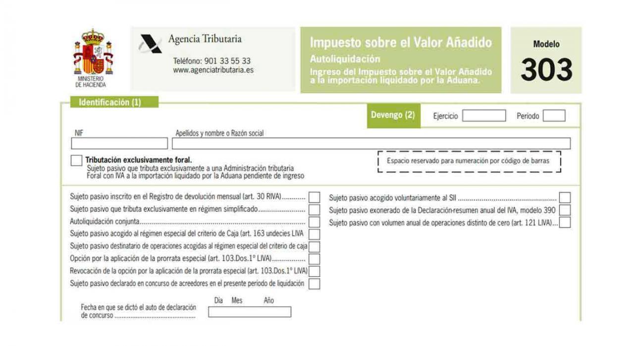 IVA, 303, 322,390. Imagen del modelo 303