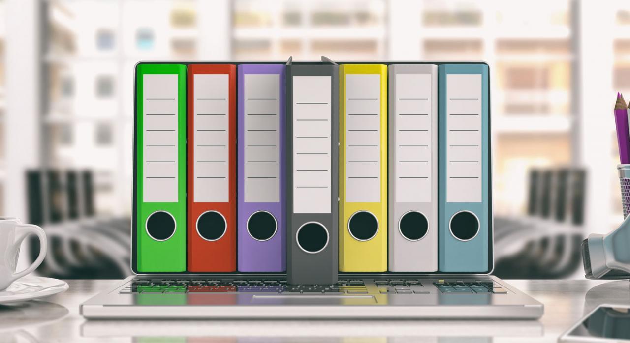 Carpetas de oficina en la pantalla de un portátil. Libros Registros IRPF