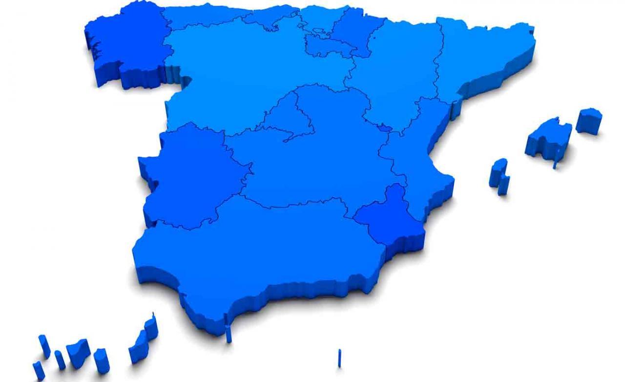 Tributos comunidades autónomas. Mapa de España con sus comunidades en 3d en color azul