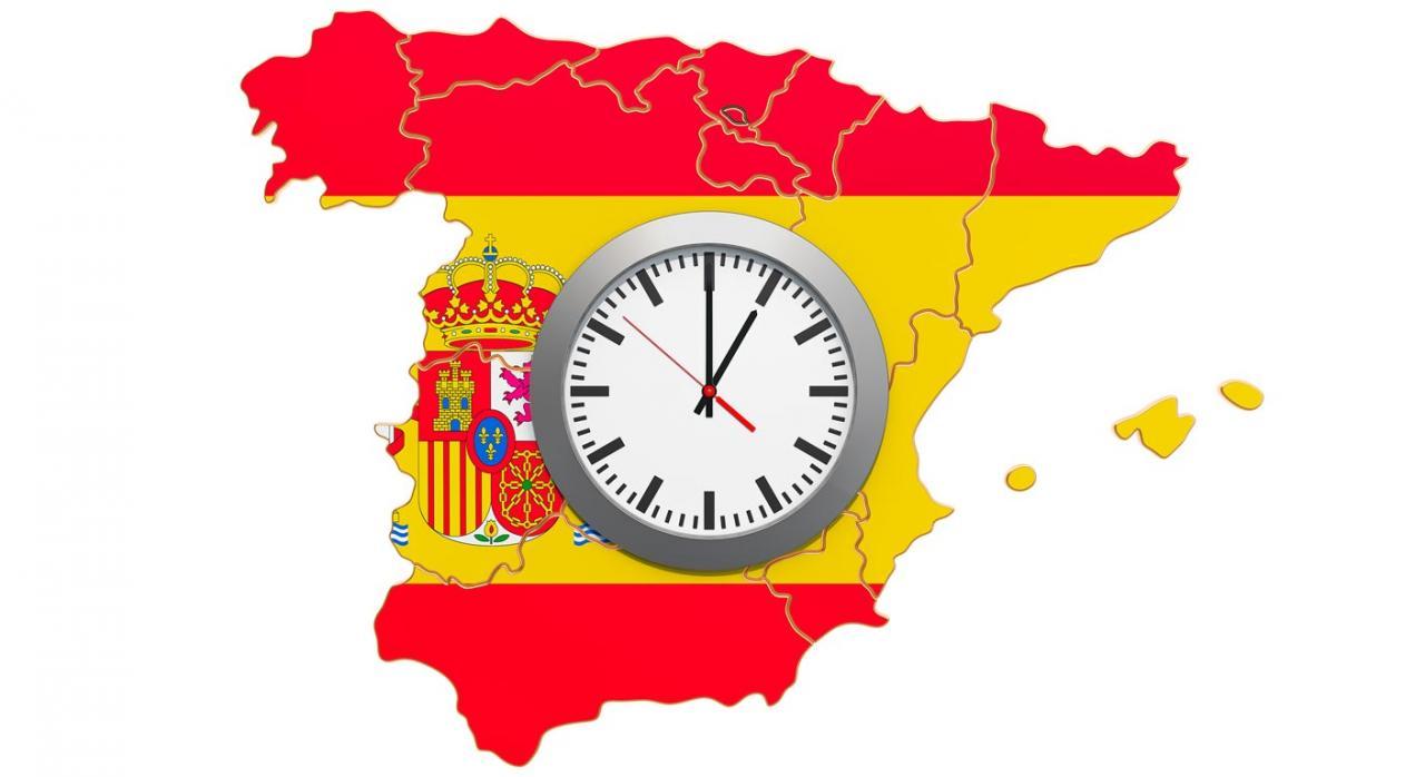 Extensión ámbito de aplicación de las medidas tributarias RDL 8/2020. Imagen del mapa de España con un reloj en el centro