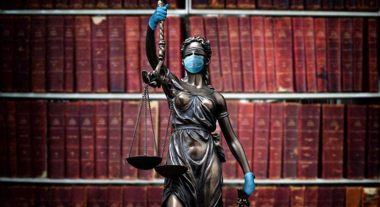 Medidas, Administración de Justicia, reactivar actividad judicial, COVID-19. Imagen de la estatua de la justicia